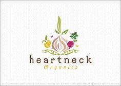 Logo for sale: Fresh and whimsical design featuring stylized garden vegetables. A garlic, beet and pepper are nested above two green pea pods.