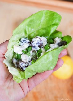 Light  Healthy Greek Yogurt Chicken Salad Lettuce Wrap