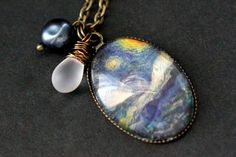 New to StumblingOnSainthood on Etsy: Starry Night Necklace. Vincent van Gogh Pendant with Frosted Teardrop and Blue Fresh Water Pearl. Oval Charm Necklace. Handmade Jewellery. (26.00 USD)
