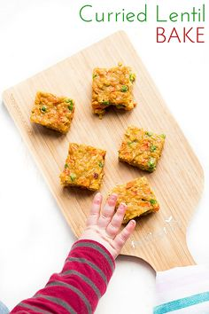 Curried Lentil bake, a perfect finger food making it great for baby-led weaning (blw) Can be enjoyed cold and great for a packed lunch box. Toddler Finger Foods, Toddler Snacks, Toddler Dinners, Baby Food Recipes, Cooking Recipes, Toddler Recipes, Food Baby, Baby Lead Weaning Recipes, Baby Led Weaning Lunch Ideas