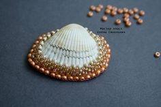 Pattern bijoux: Collana del Mare, #shell #embroidery #cabochon