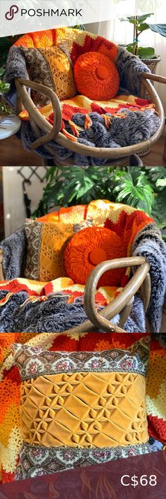 Vintage Retro Starter Pack Perfect if you want to add a retro vibe to your house. Two vintage cushions & a medium size afghan (52 x 39). The colors are AHmazing!! 🧡💛 *Other items in photo for display only. Vintage Accents Accent Pillows Black Pillow Covers, Black Pillows, Floral Pillows, Bohemian Pillows, Vintage Green, Retro Vintage, Vintage Strawberry Shortcake, Vintage Cushions, Vintage Cross Stitches
