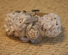 Silver Floral Dog Collar Pet wedding accessory by LADogStore