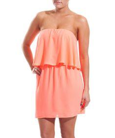 Look what I found on #zulily! Neon Pink Overlay Strapless Dress #zulilyfinds