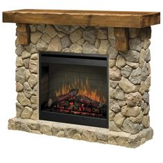 Features:  Product Type: -Fireplace.  Style: -Rustic.  Finish: -Oak.  Primary Material: -Stone/Wood.  Fuel Type: -Electric.  -Inner glow logs molded from wood logs for incredible realism.  -Flame oper