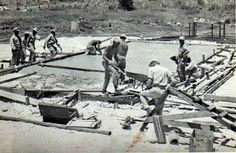 Navy Seabees build the OWI headquarters on Saipan, 1944.