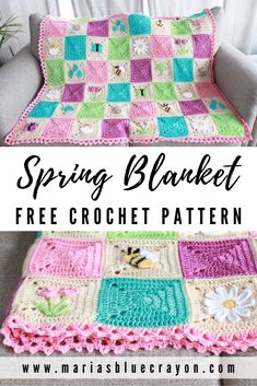Crochet Spring Blanket Free Pattern - Lilly is Love Granny Square Pattern Free, Crochet Square Blanket, Crochet Baby Blanket Free Pattern, Crochet Squares Afghan, Crochet Quilt, Granny Squares, Baby Granny Square Blanket, Quick Crochet Blanket, Ripple Afghan