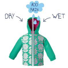 Girls Floral Colour Changing Mint Green Rain Coat - wow cute girls rain coat that actually changes colour when it rains!