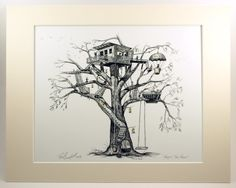 """Treehouse, tree house, whimsy, fireflies, Pen & Ink and Watercolor, """"Maggie's Tree House"""" (Reproduction (matted))"""