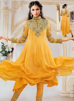 Invaluable Yellow Georgette Designer Anarkali Suit