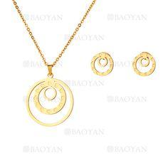 juego collar y aretes de circulos en acero dorado inoxidable para mujer -SSNEG503520