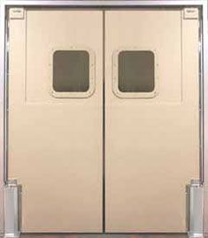 "PMP-2    Door Body: 1/4"" thick (double ply 1/8"" ABS material) 3/4"" total door thickness throughout the impact area    Finish:    Surface: Textured (both sides)  ""One Piece"": 1/4"" thick ABS base plate and back spline (both sides)  Back Channel: 16 gauge stainless steel  Window: 14"" x 16"" clear acrylic set in 1/4"" ABS textured frame    Shown with optional: 5"" x 18"" jamb gaurds"