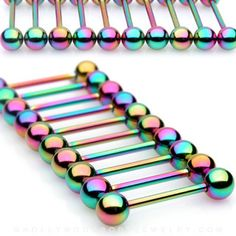Rainbow Titanium Anodized Barbell Nipple, Tongue Bar 16mm x 1.6mm
