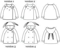 Pochette patron de couture. Bébé Mixte 6 mois - 4 ans. Patron de couture pour un gilet / veste mixte.Avec ou sans capuche.Doublé ou gansé d'un biais.Avec ou san