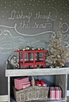 2015 Hymns & Verses Holiday Home Tour - Hymns and Verses Christmas Words, Very Merry Christmas, Country Christmas, Simple Christmas, Winter Christmas, Christmas Home, Christmas Ideas, Christmas Things, Chalkboard Decor