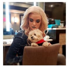 Danielle as Killer Frost with her dog BTS