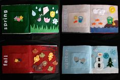 "Homemade felt ""quiet book""--this is about the seasons and sooo cute with all the buttons!"