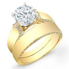 2 Carat Round Engagement Ring  Emerald And Diamond Wrap Wedding Band 46