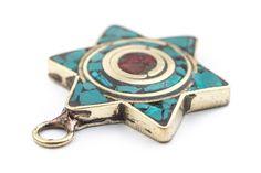 Turquoise & Coral Nepal Star of David Pendant: Organic Beads