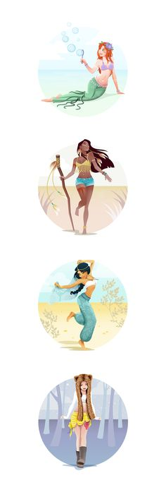 What the Disney Princesses might look like if they went to a music festival. A fun personal project appealing to both the little girl and the festival woman in me.