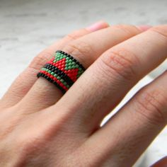 Wide beaded ring Wide seed bead ring Wide band by HappyBeadwork