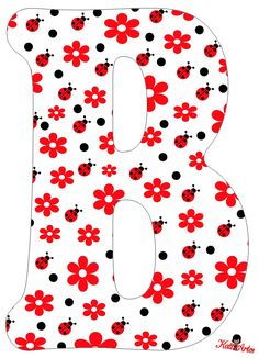 Flowers and Ladybugs Free Alphabet. Alfabeto de Flores y Mariquitas. Alphabet Templates, Alphabet Art, Alphabet And Numbers, Diy And Crafts, Arts And Crafts, Pattern Coloring Pages, Class Decoration, Sewing Material, Letter B