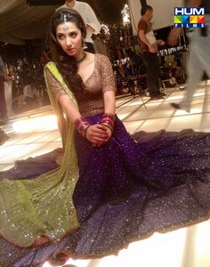Mahira Khan on the sets of Bin Roye