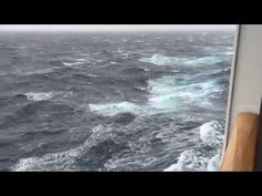 "The rough seas on our winter transatlantic crossing on Cunard's Queen Mary 2 from New York to Southampton. The winds were Force 10 and seas classified as ""ve. Queen Mary 1, Cunard Queen Mary 2, Cunard Ships, Sea Video, Rough Seas, Queen Victoria, Southampton, Queens, Winter"