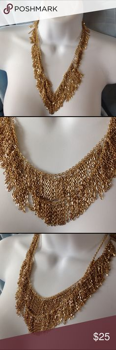 Goldtone double strand chain with dangles Goldtone double strand chain is 17-21 inch long with adjustable extender chain and lobster claw clasp.  Lots of sparkle move and flash to this Necklace. Amazing construction with hundreds of one inch chain dangles!  Really fun to wear!  I'm good used condition. Jewelry Necklaces