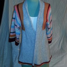 "Free People Cardigan Sweater Grey and multiple colors striped design cardigan sweater open design with inside tie in front middle flared sleeves fold down collar 28""long Free People Sweaters Cardigans"
