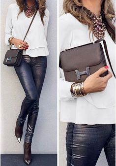 white layered chiffon blouse worn with metallic pants Fashion Models, Fashion Outfits, Womens Fashion, Fashion Hair, Going Out Outfits, Cool Outfits, Complete Outfits, Fall Winter Outfits, Mens Clothing Styles