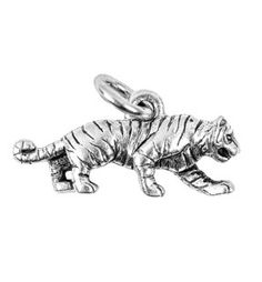Tiger Large Silver Character Charm