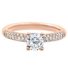 Solitaire with accents diamond engagement ring white gold White Gold Wedding Rings, Diamond Wedding Rings, Diamond Engagement Rings, Gold Rings, Cushion Diamond, Cushion Cut Diamonds, Round Diamonds, Diamond Stone, Diamond Bands