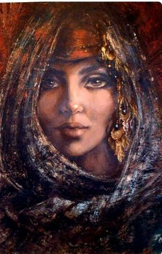 ^by Fotna Galal - Egypt Arabic Art, Art Painting, Face Art, Oriental Art, Arabian Art, Female Art, Egyptian Art, Turkish Art, Eastern Art