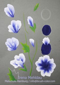 one stroke anleitung (blue and white flowers)