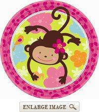 Pink and brown Monkey Love Decorations are too cute! (FOR LYRICS FIRST BIRTHDAY!)