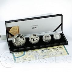 South Africa set of 4 coins 50,20,10,5 Cents Wildlife Wild Dog silver proof 2005