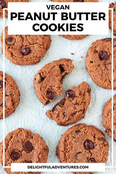 Vegan peanut butter cookies that are quick and easy to make. These cookies are flourless, making them gluten-free and they only call for seven simple ingredients. You can have these soft, delicious vegan cookies ready to serve in just 20-minutes. Healthy Vegan Dessert, Cake Vegan, Vegan Gluten Free Desserts, Vegan Dessert Recipes, Vegan Sweets, Dairy Free Recipes, Vegan Recipes Easy, Vegan Food, Eggless Recipes