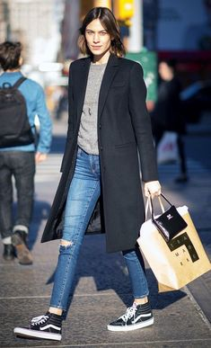 Alexa Chung and her legs for days making Sk8-Hi's look amazing.  Photo: Timur Emek/Getty Images