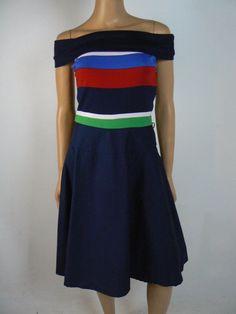 Ralph Lauren Red White Blue Green Striped Off Shoulder Dress S 4 6 NEW T346 #LaurenRalphLauren #TeaDress #Cocktail