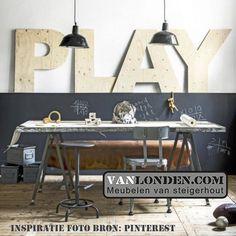 Letters van underlayment (Steigerhouten accessoires online bestellen) Drafting Desk, Furniture, Home Decor, Accessories, Decoration Home, Room Decor, Home Furnishings, Home Interior Design, Drawing Board