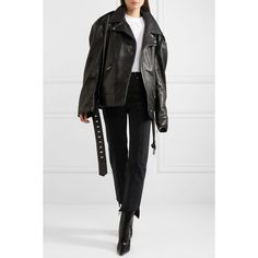 Vetements + Schott NYC Perfecto Emo oversized textured-leather biker... (€2.395) ❤ liked on Polyvore featuring outerwear, jackets, padded jacket, oversized moto jacket, asymmetrical zip jackets, oversized jacket and biker style jacket