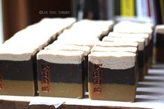 """Made a """"black and tan"""" beer soap with Guinness and Harp yesterday!  Should be cured and ready to sell in about 5 weeks."""