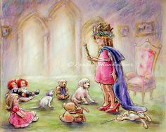 "Princess, nursery, childhood, pretend play children illustration, print Choose size, Laurie Shanholtzer, "" Our Princess Holding Court"""