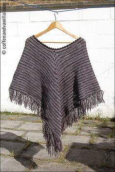 Classic Two Tone Poncho, free pattern by Coffee & Vanilla  about 450-500g DK yarn (used acrylic to be able to wash poncho in washing machine. G hook for body, H for trim