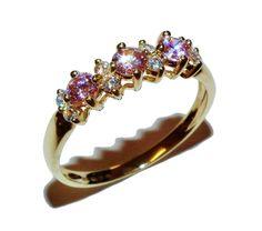 Fully Hallmarked 14ct Yellow Gold & Pink & White Gem Set Dress Ring - UK Size V