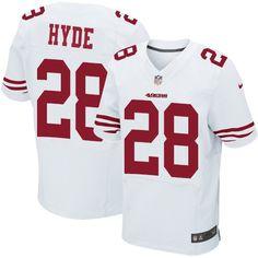 Nike Elite Carlos Hyde White Men's Jersey - San Francisco 49ers #28 NFL Road