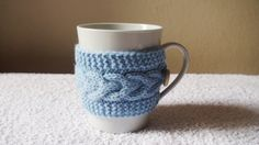 Light blue mug cozy knit coffee cozy cup warmer by HelenKurtidu Mug Cozy, Coffee Cozy, Cup Sleeve, Blue Cups, Cozy Knit, Valentines Day Gifts For Him, Wool Yarn, Tea Cups, Light Blue