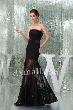 Sheath/Column Winter Formal Dresses Strapless Floor Length Satin Lace Black 16001040009 - Winter Formal Dress