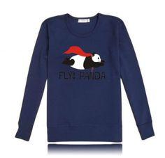Fly panda sweatshirts crew neck cool superpanda graphic sweatshirt